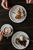 High angle view of coffee and cake