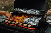 Preparing food on barbecue