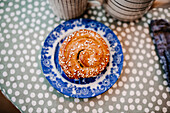 Cinnamon bun on plate