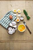Eggs – raw, cracked, soft-boiled, hard-boiled