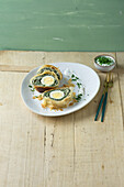 Vegetarian spinach strudel with eggs