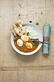 Indian egg curry with tomatoes, coconut milk and spices