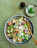 Risoni and feta salad with grilled peaches and a lime dressing