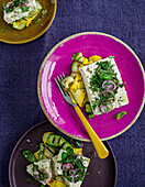 Vegan almond 'feta' with courgette in herb marinade