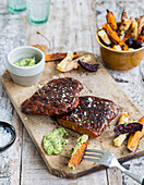 Vegan steak with vegetable fries and avocado chimichurri