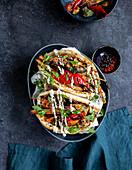 Vegetarian vegetable kebab with sesame-garlic sauce