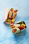 Vegetable-ham wraps with fruit 'To Go