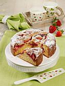 Sunken strawberry sponge cake