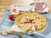 Salted butter and Plougastel strawberry crumble-style squares