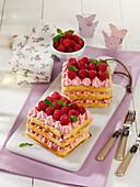 Raspberry waffle slices with yoghurt cream