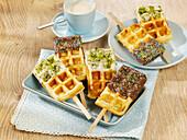 Waffles on sticks with chocolate glaze