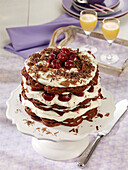 A waffle 'egg-nog cherry' cake