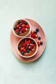 Chocolate pudding with berries (sugar-free)