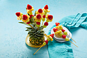 Fruit bouquet on pineapple, strawberries and grapes (sugar-free)