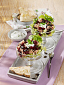 Beetroot and tuna salad with pita bread and a mint dip