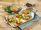 Mini picnic pancakes with salami and pepperoni