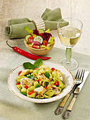 Fiery orecchiette with light pesto and fish fillet