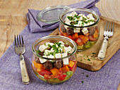 Meatball salad in jars