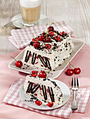 Cherry ice cream cake with mascarpone and chocolate wafer biscuits