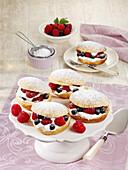 Raspberry millefeuille sandwiches with Greek yoghurt