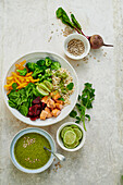 Super Healthy Bowl with roasted salmon