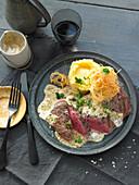 Grilled flank steak with Café-de-Paris sauce
