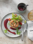 Char tartare with beetroot sauce