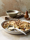 Date and pear crumble with almond-and-tonka-bean sauce
