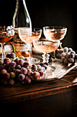 Rosé wine and frozen grapes