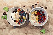 Muesli with cream curd and fresh berries