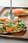Creole 'pizza' with salmon sashimi