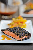 Salmon with a black sesame seed-and-pepper coating