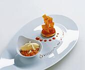 Apricot tartlet with strudel and caramelised cinnamon salt butter