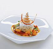 Honey nougat parfait with macadamia nuts, mountain pepper meringue and calamansi sorbet