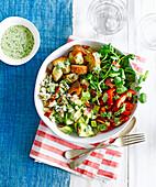 American cobb salad with green goddess dressing