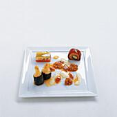 Yuzuma marinade with yellowfin mackerel, asparagus tempura and soy jelly