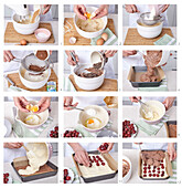 Baking cocoa cuts with mascarpone and cherries