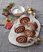 Christmas cocoa roll with chestnuts