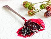 Blackberry jam on a spoon