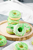 Homemade donuts made from low carb yeast dough with apple flavouring