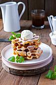 Vanilla waffles served with ice cream