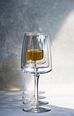 Georgian white dry wine in glass