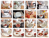 Meringue tart Pavlova with strawberries - step by step