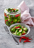 Brussels sprout in honey and chili dressing