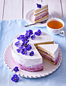 Blueberry cake with violets