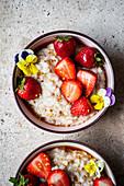 Coconut Milk Rice Pudding bowls