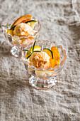 Homemade orange ice cream with white chocolate