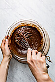 The making of a chocolate cake