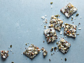 Protein Nut Bark with cocnut shavings, and copy space