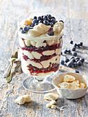 Blueberry dessert with meringues
